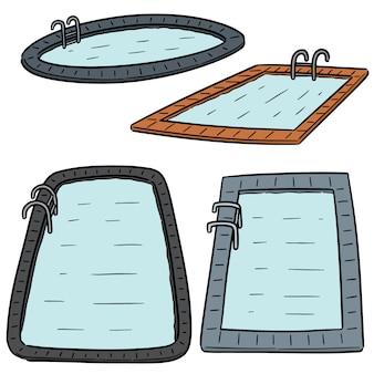 Векторный набор плавательный бассейн