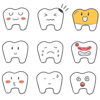 치아의 벡터 세트