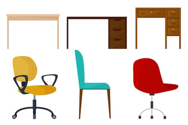 Векторный набор из трех столов и трех стульев. рабочий стол. элементы дизайна.
