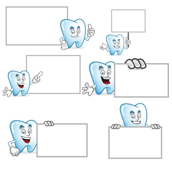 Vector set of tooth mascot