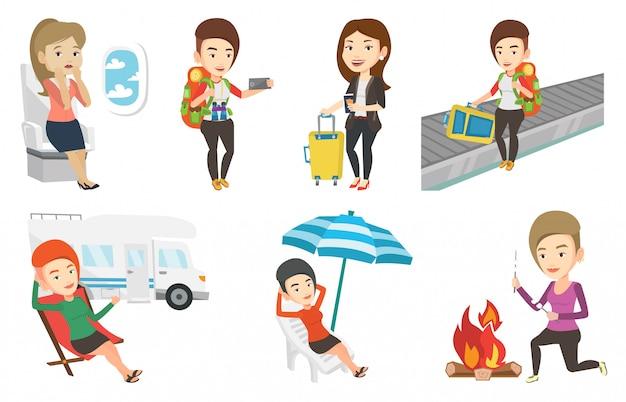 Векторный набор путешествующих людей.
