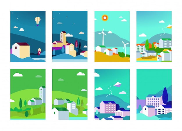 Векторный набор городских фонов пейзажей со зданиями и деревьями