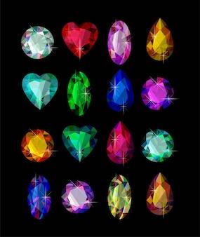 Векторный набор разноцветных драгоценных камней