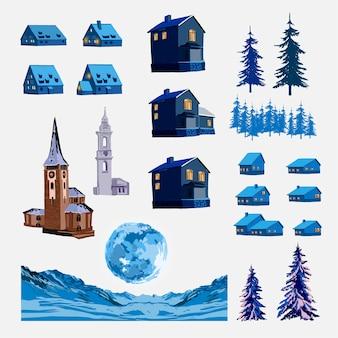 Векторный набор различных домов, башен и элементов ландшафта. архитектура иллюстрации в зимнем городе, деревьях, горах и луне. иллюстрация.