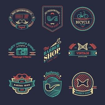 ヴィンテージヒップスターのロゴのベクトルセット。自転車、口ひげ、カメラなどのレトロなアイコンコレクション。