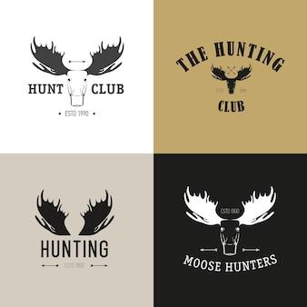 Векторный набор старинных охотничьих эмблем