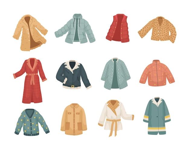 ヴィンター服のベクトルセット。さまざまな種類のコートとジャケット。