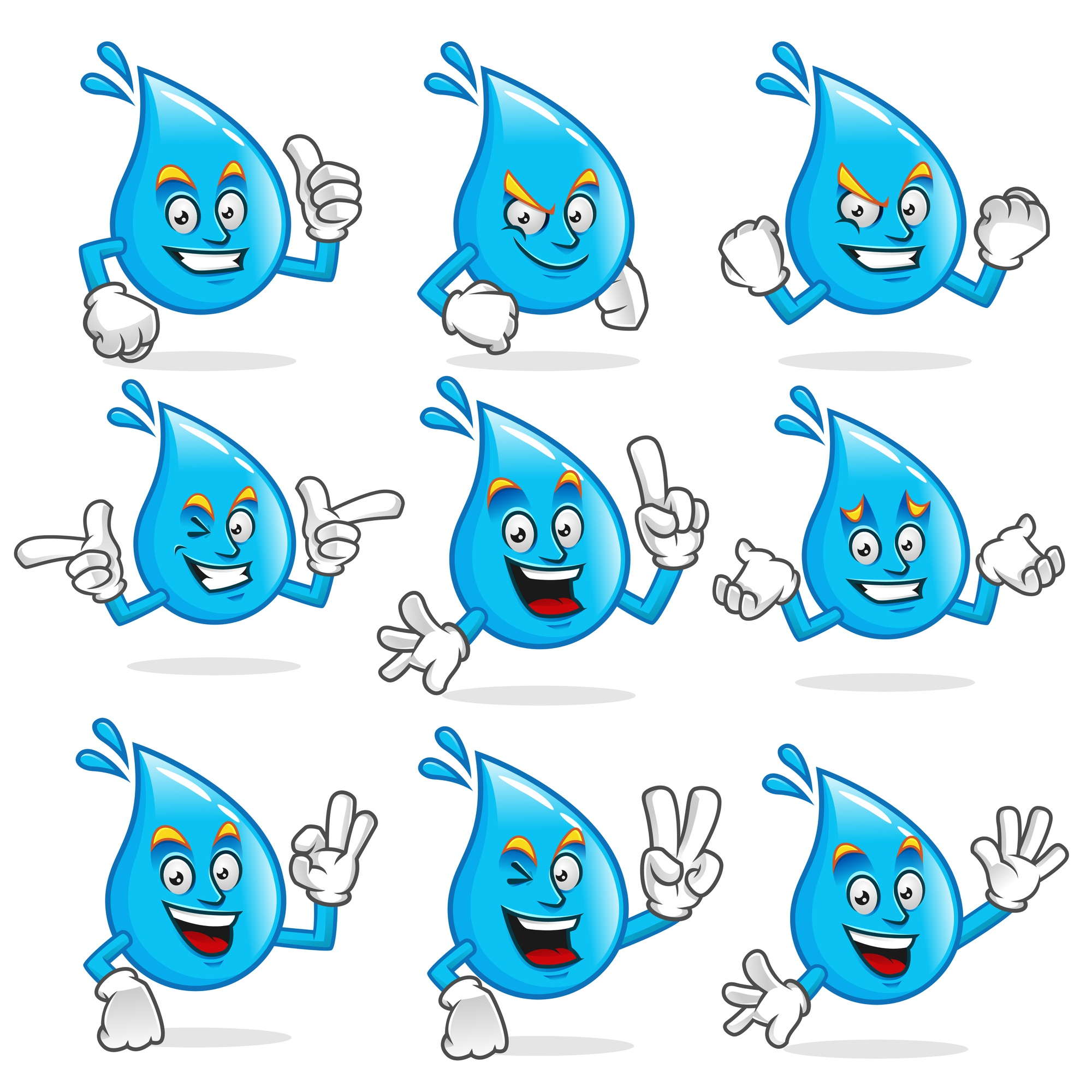 Vector set of water mascot