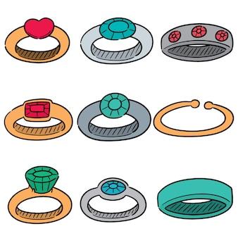 Векторный набор обручальных колец