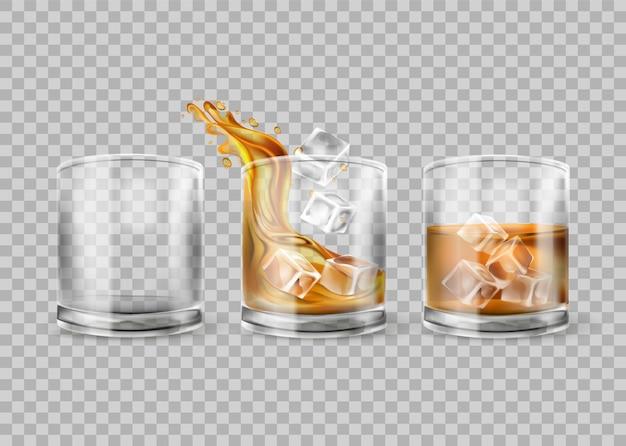 투명 한 배경에 고립 된 위스키 유리의 벡터 집합입니다. 얼음을 넣은 위스키. 알코올 음료가 있는 안경, 바 또는 레스토랑을 위한 현실적인 그림. 3d 모형.