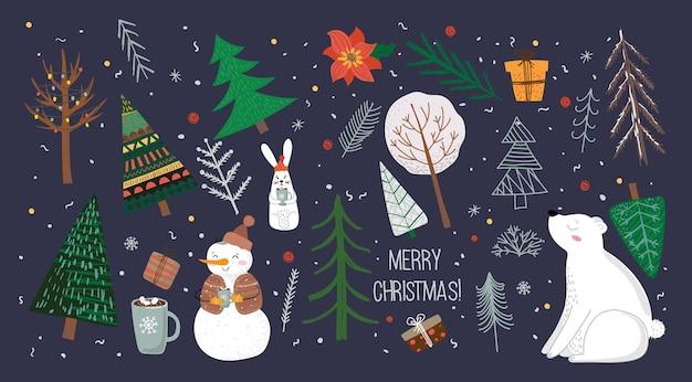겨울 크리스마스 나무와 눈 눈송이 부시 구름의 벡터 세트