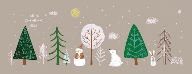 겨울 크리스마스 트리와 태양 눈 nowman 덤불 구름 곰 토끼의 벡터 세트는 자신의 새로운...