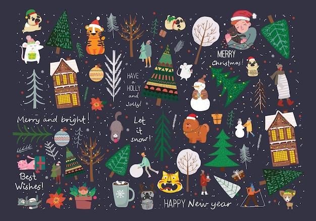 冬のクリスマスツリーと太陽、雪、雪の結晶、茂み、猫、独自の新年とクリスマスのイラストカードを作成するための人々のベクトルセット