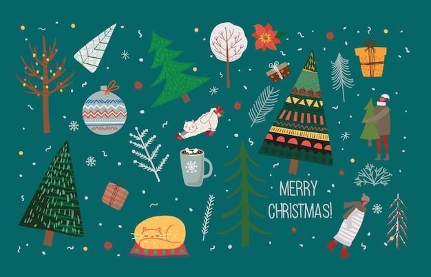 겨울 크리스마스 나무와 태양, 눈, 눈송이, 덤불, 구름, 사람 및 자신의 새해 및 크리스마스 그림 카드 만들기를 위한 선물의 벡터 세트