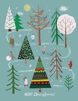 겨울 크리스마스 나무와 태양 눈 눈송이 부시 구름 사람들의 벡터 세트