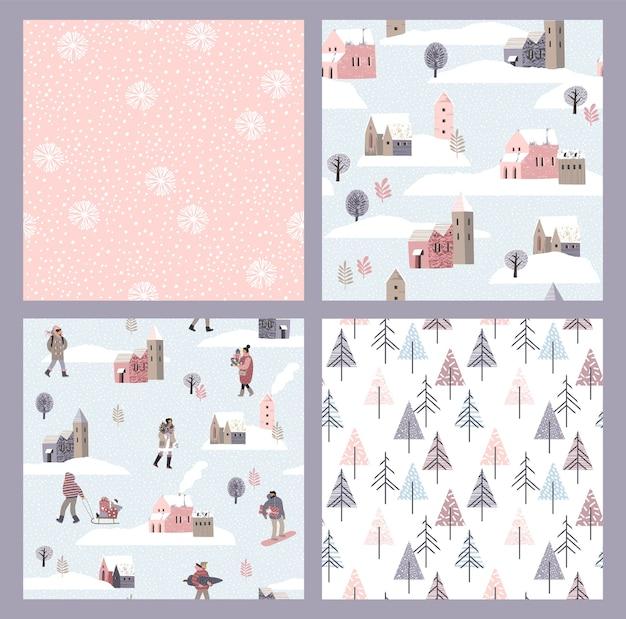 人と雪と冬のシームレスなパターンのベクトルセット。トレンディな手描きのテクスチャ。テキスタイル、ウォールアート、包装紙、壁紙、その他の用途向けのデザイン。