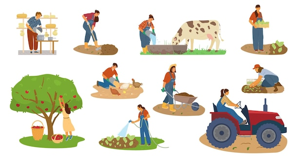 Векторный набор женщин-фермеров, работающих. уборка урожая, копание, поение, кормление скота, изготовление сыра, трактор.
