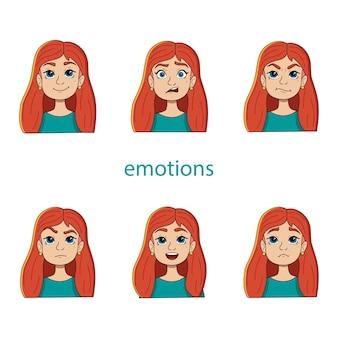 Векторный набор женских голов с разными эмоциями
