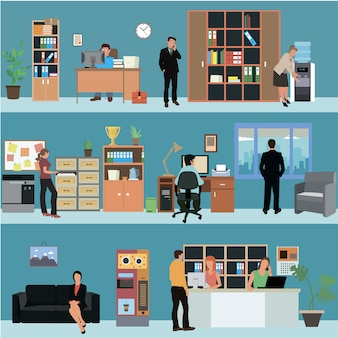 Vector set of office interior banners in flat . business people and office workers. company reception room