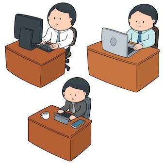 Vector set of office worker