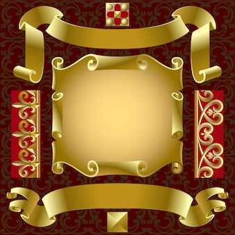 Vector set of old gold banners with border elements