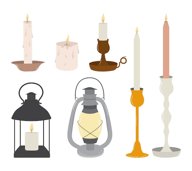 Vector set of old vintage candles and lanterns