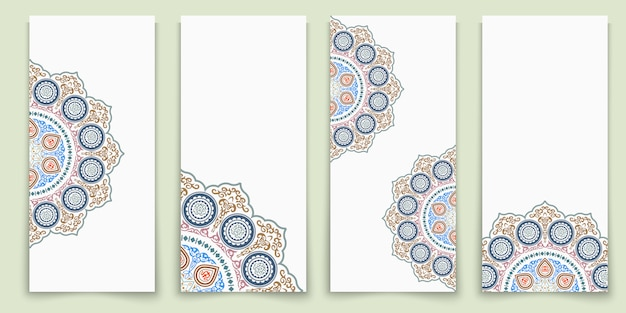 Vector set of ornate vertical template cards
