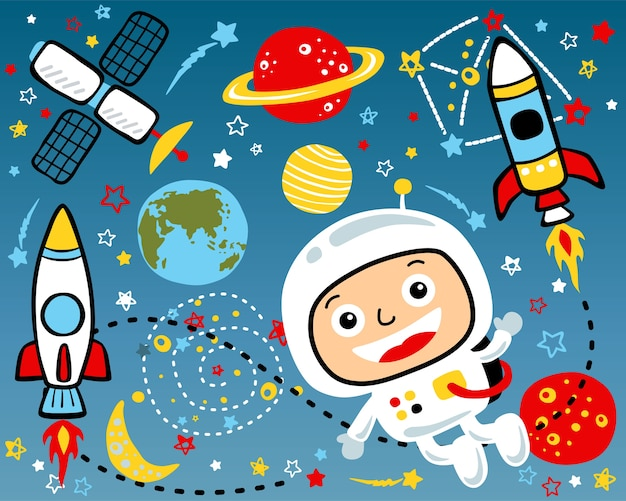 Vector set of outer space cartoon illustration
