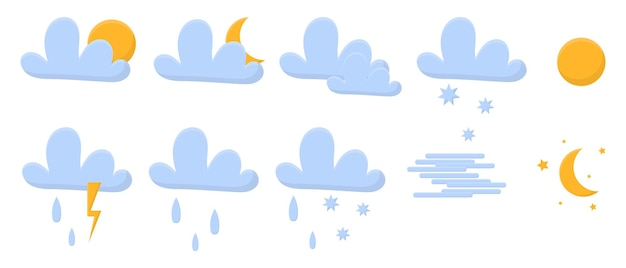 Vector set of p weather iconsweather icons pack  contains icons of the sun clouds snowflakes