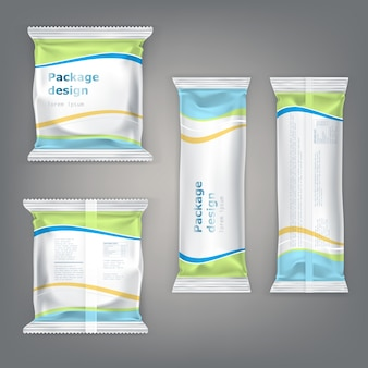 Vector set packaging for snacks - biscuits, chocolate, candy, bars, crackers.
