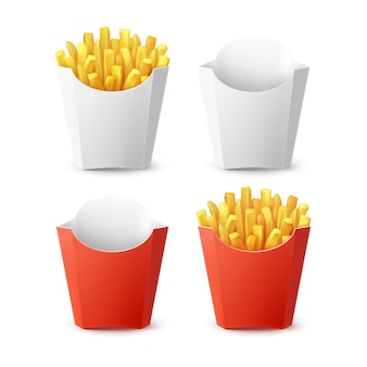 Vector set of packed potatoes french fries with red white blank empty carton package box isolated on background. fast food