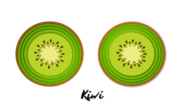 Vector set of paper cut green kiwi