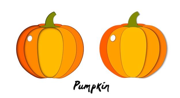 Vector set of paper cut orange pumpkin, cut shapes