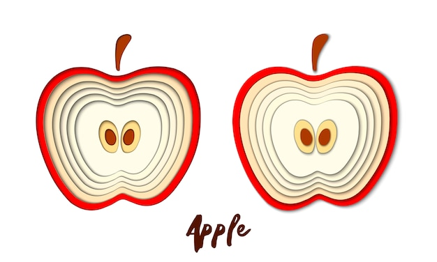 Vector set of paper cut red apple, cut shapes