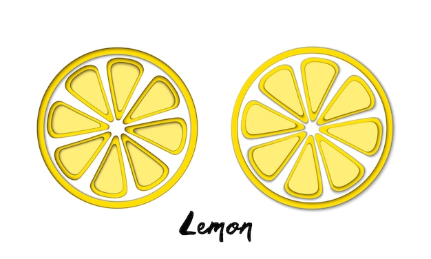 Vector set of paper cut yellow lemon, cut shapes.