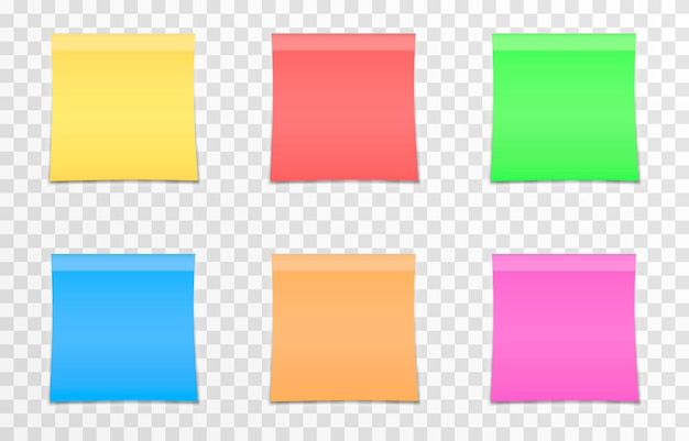 Vector set of papers for notes on an isolated transparent background realistic note paper sheet