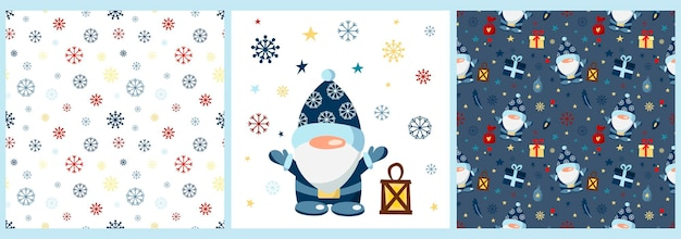 Vector set of patterns and a poster with a christmas gnome on a white background patterns with snow
