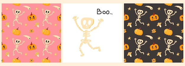 Vector set of patterns and posters for halloween with a funny skeleton pumpkinsthe inscription boo