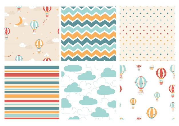 Vector set of patterns with cute children characters on balloons.