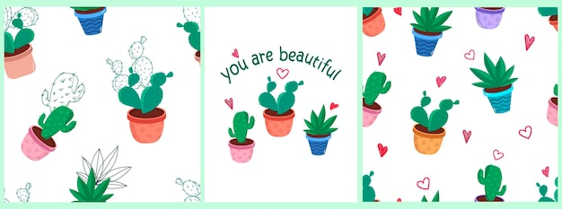 Vector set of patterns with indoor plants cacti in colorful pots in doodle style
