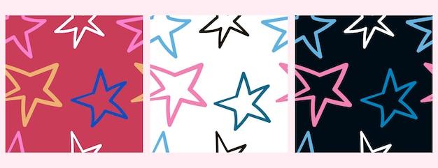 色付きの背景に手作りスタイルの大きな色とりどりの星とベクトルセットパターン