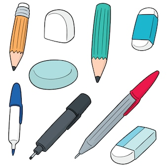 Vector set of pen, pencil, eraser