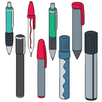 Vector set of pens