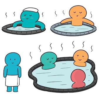 Vector set of people bathing in hot water pool