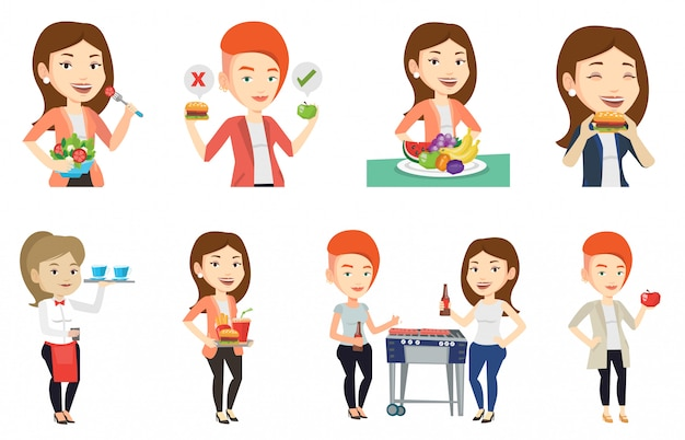 Vector set of people eating and drinking.