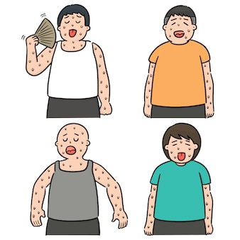 Vector set of people in hot weather