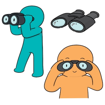 Vector set of people using binoculars