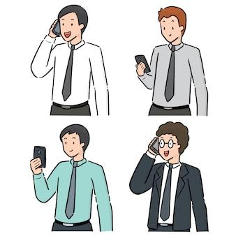 Vector set of people using smartphone