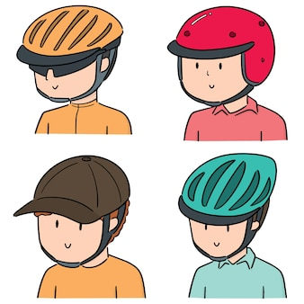 Vector set of people wearing helmet