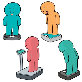 Vector set of people on weighing machine